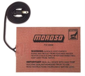 "Moroso 23996 External Heating Pad Dimensions: 5"" x 7"" Self Adhesive Attachment 400 Watts 110 Volt Cord"